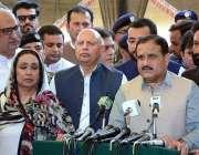 فیصل آباد: وزیر اعلیٰ پنجاب عثمان بزدار میڈیا سے گفتگو کر رہے ہیں، گورنر ..