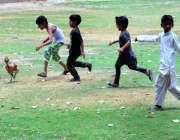 حیدر آباد: بچے مرغا پکڑنے کی کوشش کر رہے ہیں۔