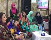 لاہور: تحریک انصاف کی رکن پنجاب اسمبلی مسرت جمشید چیمہ ایک سکول کی تقریب ..