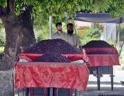 راولپنڈی: ریڑھی بان فالسہ سجائے گاہکوں کا منتظر ہے۔