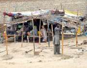 ملتان: خانہ بدوش خیمہ (جھگی) بنانے میں مصروف ہے۔