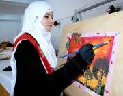 اسلام آباد: آئی ایم سی جی منعقدہ پینٹنگ مقابلوں میں شریک طالبات۔