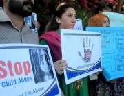 اسلام آباد: سول سوسائٹی کے زیر اہتمام بچوں سے جنسی تشدد کے خلاف احتجاج ..