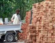 اسلام آباد: مزدور سوزوکی پک اپ میں اینٹیں لوڈ کررہا ہے۔