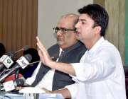 اسلام آباد: وفاقی وزیر کمیونیکشن اینڈ پوسٹل سروسز مراد سید پریس کانفرنس ..