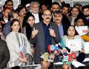 اسلام آباد: وفاقی وزیر صحت عامر محمود کیانی پریس کانفرنس سے خطاب کر ..