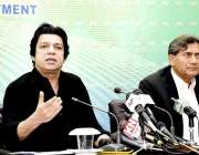 اسلام آباد: وفاقی وزیر برائے آبی وسائل فیصل واوڈا پریس کانفرنس سے خطاب ..