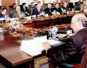 لاہور: وزیر اعلیٰ پنجاب سردار عثمان بزدار صوبائی کابینہ کے اجلاس سے ..