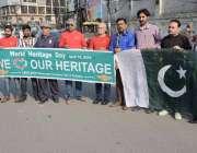 لاہور: عالمی ورثے کے عالمی دن کے حوالے سے پریس کلب کے باہر آگاہی واک ..