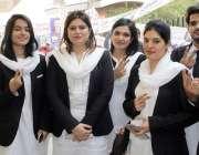 لاہور: سپریم کورٹ بار ایسوی ایشن کے سالانہ انتخابات کے موقع پرخواتین ..