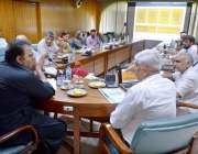 راولپنڈی: وفاقی وزیر سائنس و ٹیکنالوجی چودھری فواد حسین ایک اجلاس کی ..