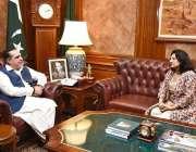 کراچی: گورنر سندھ عمران اسماعیل سے میئر سی فوروڈ یو کے، نازش عادل ملاقات ..