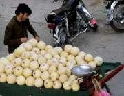 راولپنڈی: ایک پھل فروش نے اپنی ریڑھی پر خربوزے فروخت کے لیے سجا رکھے ..