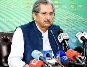 اسلام آباد: وفاقی وزیر تعلیم شفقت محمود پریس کانفرنس سے خطاب کررہے ..