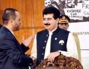 اسلام آباد: چیئرمین سینیٹ سردار صادق سنجرانی جناح کنونشن سنٹر میں کشمیر ..