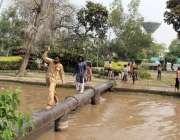 لاہور: شہری خطرناک طریقے سے پائپ پر چل کر نہر پار کر رہے ہیں۔