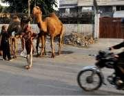 لاہور: خانہ بدوش خواتین سڑک کنارے اونٹنی کا دودھ فروخت کررہی ہیں۔