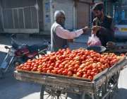 کوئٹہ: صوبائی دارالحکومت میں سمگلی روڈ پر ایک شخص فروش سے ٹماٹر خریدنے ..