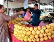 اسلام آباد: شہری ایک سٹال سے آمد خرید رہا ہے۔