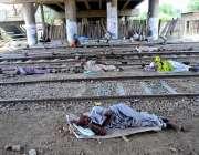 حیدر آباد: شہری ریلوے اسٹیشن کے قریب اوورہیڈ پل کے نیچے آرام کر رہے ..