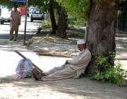 اسلام آباد: وفاقی دارالحکومت میں معمر محنت کش کام نہ ہونے کے باعث درخت ..