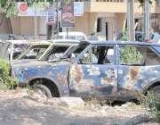 راولپنڈی: تھانہ نیو ٹاؤن کے باہر مختلف مقدمات میں بند گاڑیاں کھڑی کھڑی ..