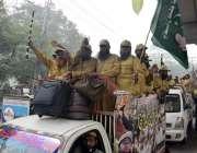 لاہور: جمعیت علمائے اسلام (ف) کے آزادی مارچ کے شرکاء لاہور سے اسلام آباد ..