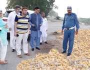 قصور: ڈپٹی کمشنر محمد اظہر حیات موضع روشن بھیلہ کے دورہ کے دوران سڑک ..