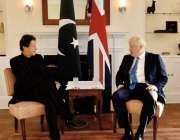 نیویارک :وزیراعظم عمران خان اور برطانیہ کے وزیراعظم بورس جانسن نیویارک ..