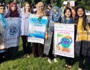 اسلام آباد: وفاقی دارالحکومت میں منعقدہ کلائمیٹ مارچ پاکستان میں شرکاء ..