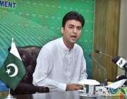 اسلام آباد: وفاقی وزیر کمیونیکیشن و پوسٹل سروسز مراد سعید پریس کانفرنس ..