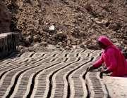 فیصل آباد: خاتون محنت کش بھٹہ پر اینٹیں بنانے میں مصروف ہے۔