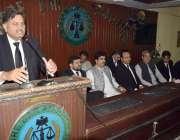 لاہور:صدر لا ہور عاصم چیمہ جنرل ہاؤس کے اجلاس سے خطاب کررہے ہیں۔