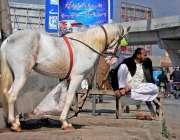 راولپنڈی: ڈھولچی اپنے گھوڑے کے ہمراہ دھوپ میں بیٹھا گاہکوں کا انتظار ..