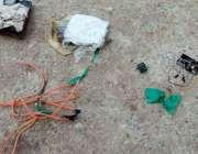 کراچی:گل احمد چورنگی پرکھڑی موٹرسائیکل جس میں بم نصب کیا گیا تھا، بم ..