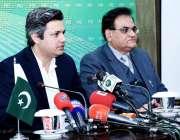 اسلام آباد: وزیر مملکت برائے ریونیو حماد اظہر پریس کانفرنس سے خطاب ..