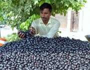 ملتان: ریڑھی بان گاہکوں کو متوجہ کرنے کے لیے جامن سجا رہا ہے۔