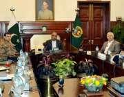 پشاور: گورنر خیبر پختونخوا شاہ فرمان اعلیٰ سطحی اجلاس کی صدارت کررہے ..