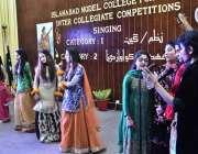 اسلام آباد: اسلام آباد ماڈل گرلز کالج کی طالبات کلچرل مقابلوں کے موقع ..