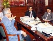 کراچی: میئر کراچی وسیم اختر سے سی ایس ایس آفیسرز کا وفد ملاقات کررہا ..