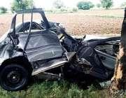 اسلام آباد: پنڈی جھنڈ روڈ پرحادثے کا شکار ہونیوالی گاڑی، حادثے میں ..