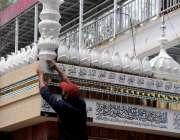 راولپنڈی: شب برات کے موقع پر مقامی مسجد کی تزعین و آرائش کا کام جاری ..
