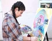 اسلام آباد: شجرکاری آگاہی مہم کے دوران ایک طالبہ پینٹنگ بنا رہی ہے۔یسل