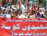 راولپنڈی: مزدور ڈے کے موقع پر واپڈا ملازمین کی ریلی پریس کلب سے گزر ..