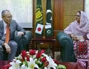 راولپنڈی: وفاقی وزیر برائے دفاعی پیداور زبیدہ جلال سے جاپان کے سفیر ..