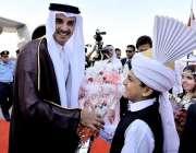 اسلام آباد: قطر کے امیر شیخ تمیم بن حماد الثانی کا اسلام آباد ائیرپورٹ ..