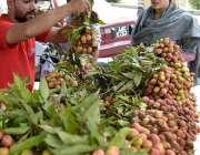 لاہور: خاتون ریڑھی بان سے موسمی پھل (لیچی) خرید رہی ہے۔