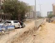کراچی: ہل پارک روڈ پر انڈر پاس کی تعمیر کا کام جاری ہے۔