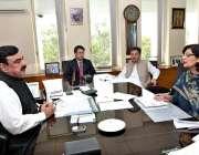 اسلام آباد: وفاقی وزیر ریلوے شیخ رشید احمد سے چیئرپرسن بینظیر انکم ..