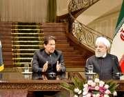 تہران: وزیر اعظم عرمان خان اور ایرانی صدر حسن روحانی مشترکہ پریس کانفرنس ..